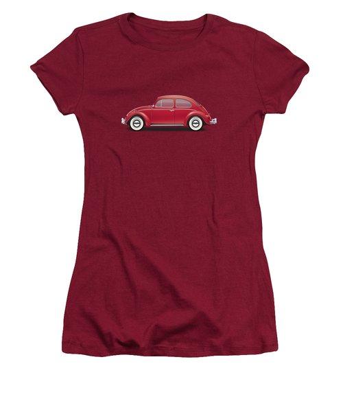 1964 Volkswagen 1200 Deluxe Sedan - Ruby Red Women's T-Shirt (Junior Cut) by Ed Jackson