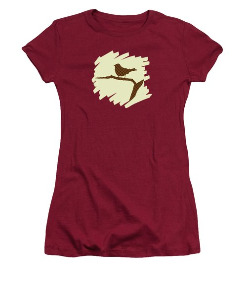 Brown Bird Silhouette Modern Bird Art Women's T-Shirt (Junior Cut) by Christina Rollo
