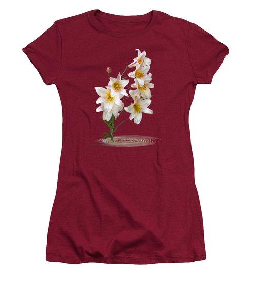 Cascade Of Lilies On Black Women's T-Shirt (Junior Cut) by Gill Billington