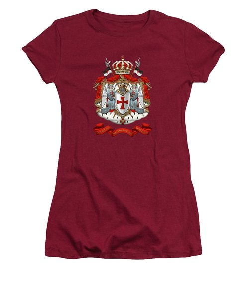 Knights Templar - Coat Of Arms Over Red Velvet Women's T-Shirt (Junior Cut) by Serge Averbukh