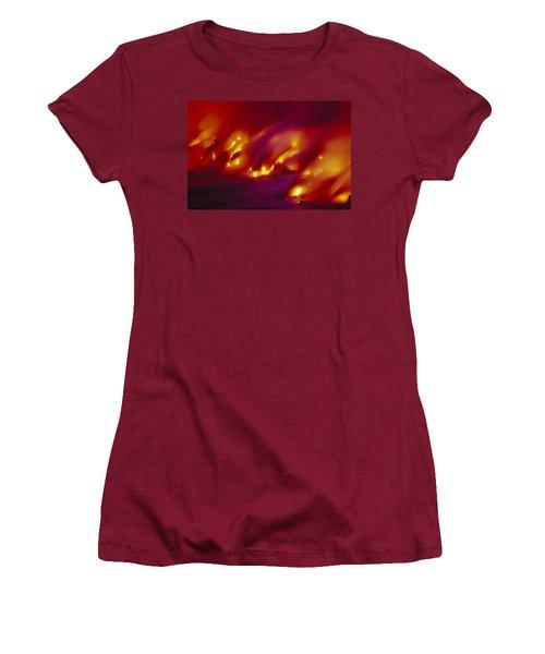 Lava Up Close Women's T-Shirt (Junior Cut) by Ron Dahlquist - Printscapes