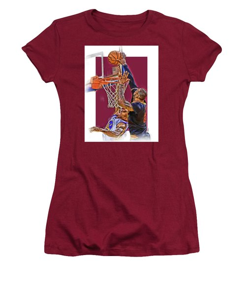 Lebron James Cleveland Cavaliers Oil Art Women's T-Shirt (Junior Cut) by Joe Hamilton