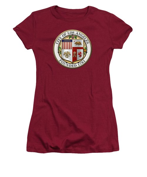 Los Angeles City Seal Over Red Velvet Women's T-Shirt (Junior Cut) by Serge Averbukh