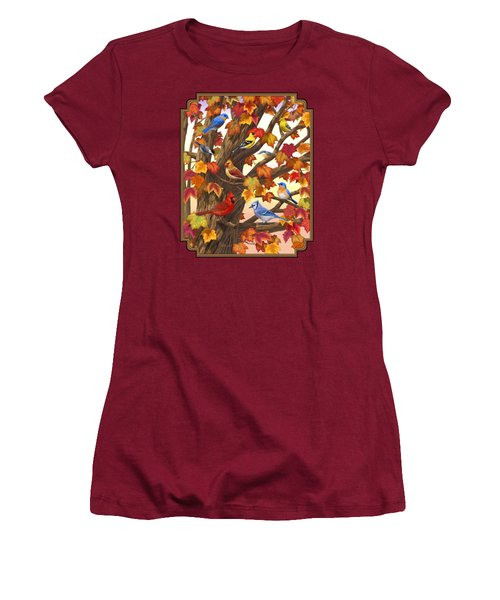 Maple Tree Marvel - Bird Painting Women's T-Shirt (Junior Cut) by Crista Forest