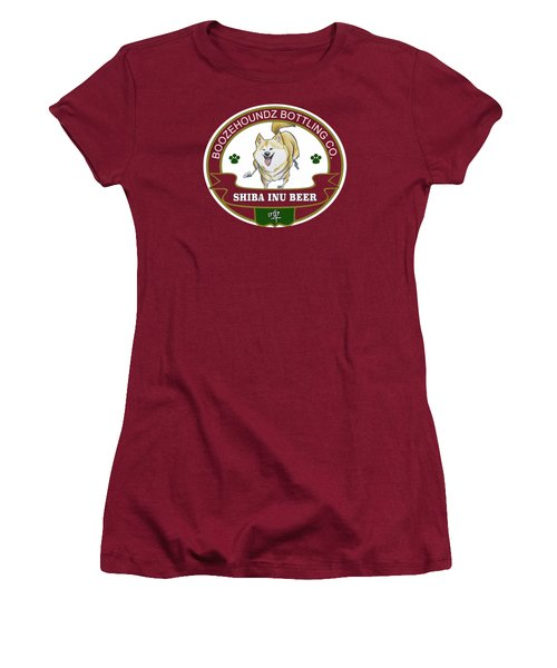 Shiba Inu Beer Women's T-Shirt (Junior Cut) by John LaFree