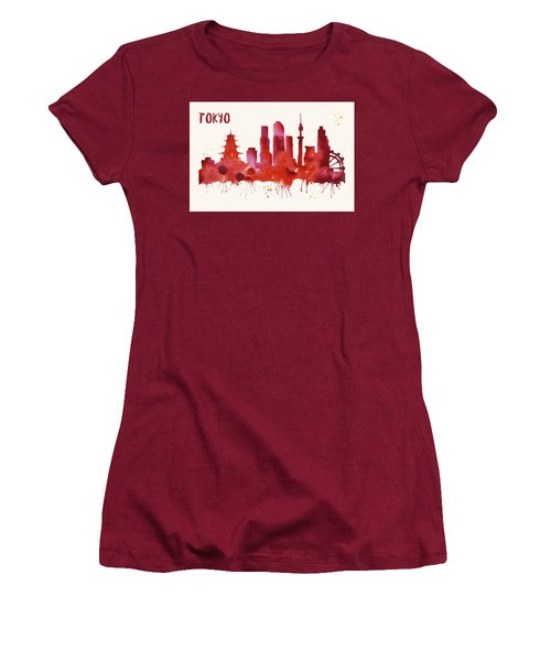 Tokyo Skyline Watercolor Poster - Cityscape Painting Artwork Women's T-Shirt (Junior Cut) by Beautify My Walls