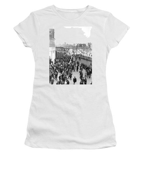 Fans Leaving Yankee Stadium. Women's T-Shirt (Junior Cut) by Underwood Archives
