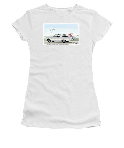 1965 Barracuda  Classic Plymouth Muscle Car Women's T-Shirt (Junior Cut) by John Samsen