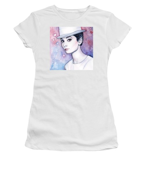 Audrey Hepburn Fashion Watercolor Women's T-Shirt (Junior Cut) by Olga Shvartsur