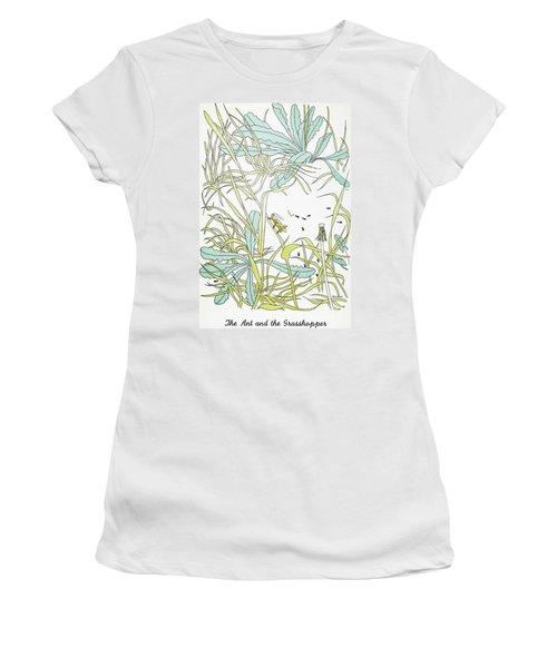 Aesop: Ant & Grasshopper Women's T-Shirt (Junior Cut) by Granger
