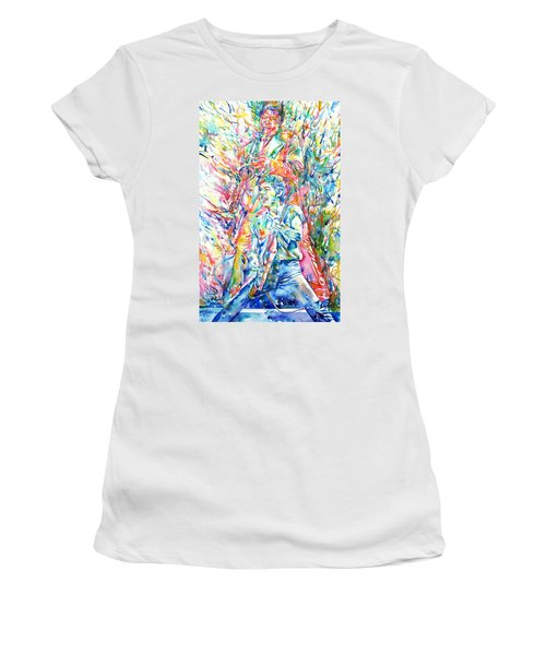 Bruce Springsteen And Clarence Clemons Watercolor Portrait Women's T-Shirt (Junior Cut) by Fabrizio Cassetta