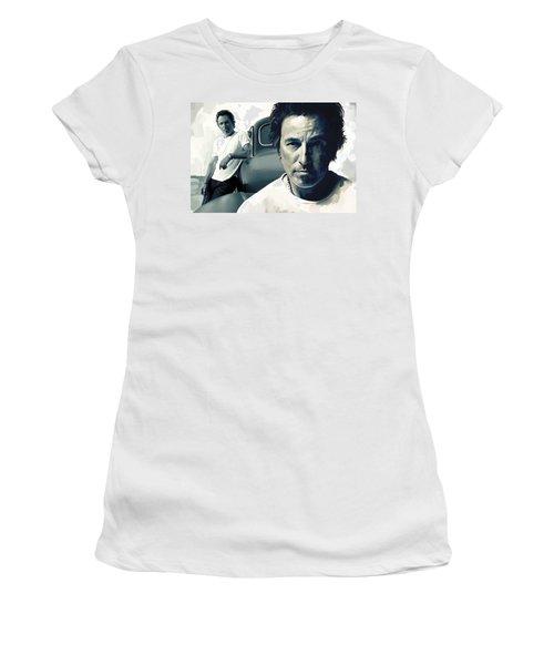 Bruce Springsteen The Boss Artwork 1 Women's T-Shirt (Junior Cut) by Sheraz A
