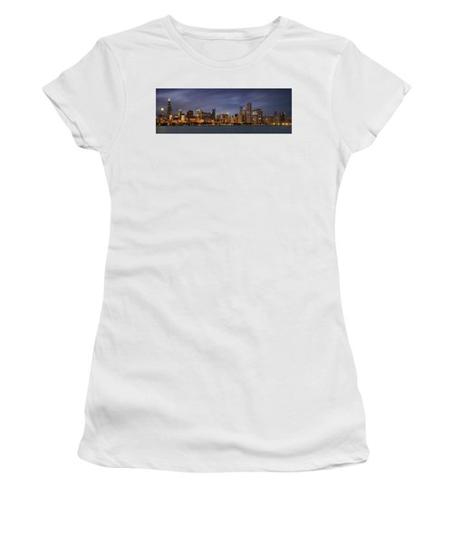 Chicago Skyline At Night Color Panoramic Women's T-Shirt (Junior Cut) by Adam Romanowicz