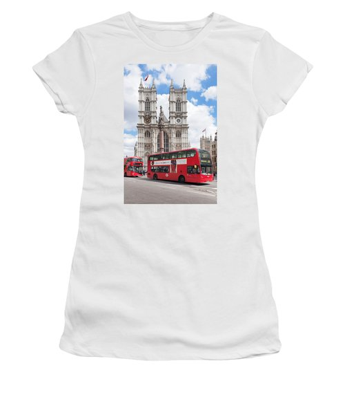 Double-decker Buses Passing Women's T-Shirt (Junior Cut) by Panoramic Images