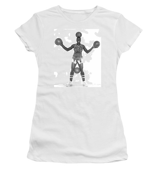 Harlem Globetrotters Player Women's T-Shirt (Junior Cut) by Underwood Archives