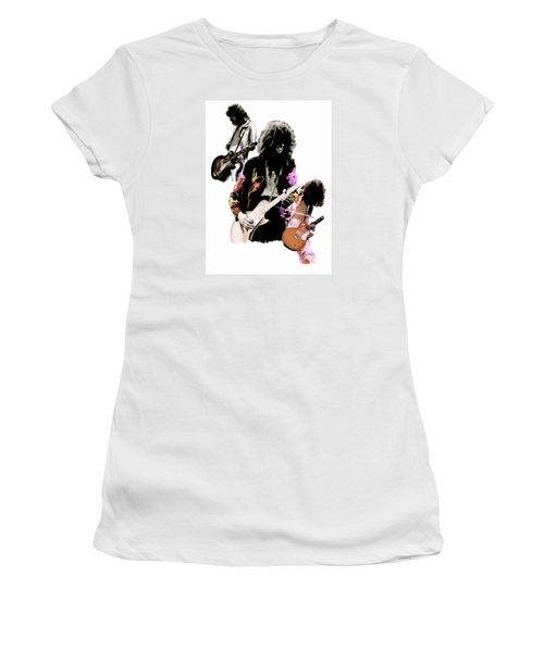 In Flight Iv Jimmy Page  Women's T-Shirt (Junior Cut) by Iconic Images Art Gallery David Pucciarelli