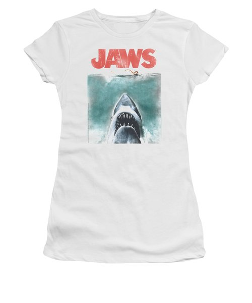 Jaws - Vintage Poster Women's T-Shirt (Junior Cut) by Brand A