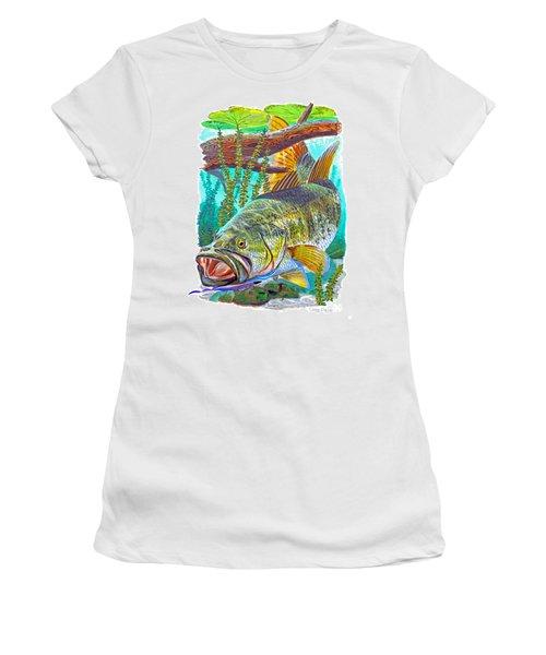 Largemouth Bass Women's T-Shirt (Junior Cut) by Carey Chen