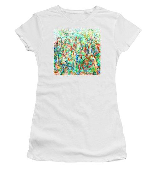 Led Zeppelin - Watercolor Portrait.1 Women's T-Shirt (Junior Cut) by Fabrizio Cassetta