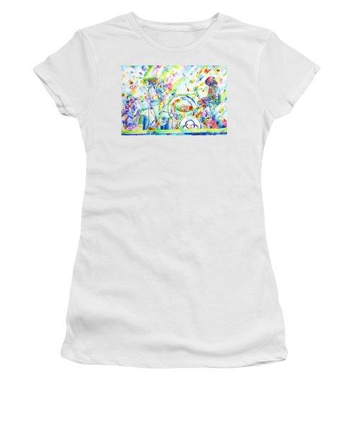 Led Zeppelin Live Concert - Watercolor Painting Women's T-Shirt (Junior Cut) by Fabrizio Cassetta