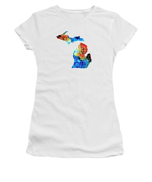 Michigan State Map - Counties By Sharon Cummings Women's T-Shirt (Junior Cut) by Sharon Cummings