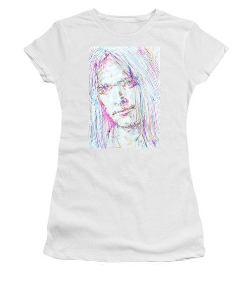 Neil Young - Colored Pens Portrait Women's T-Shirt (Junior Cut) by Fabrizio Cassetta