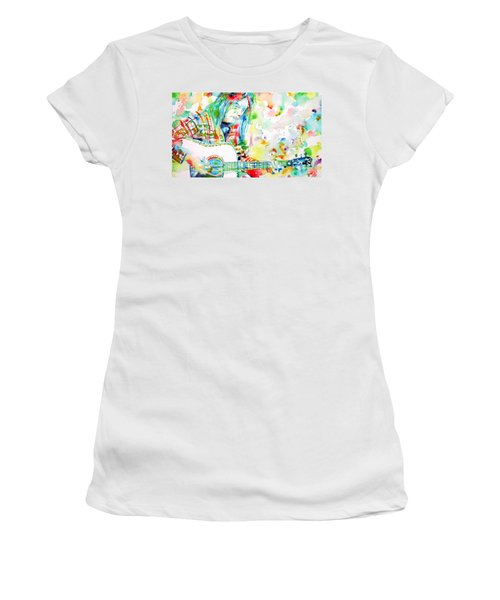 Neil Young Playing The Guitar - Watercolor Portrait.1 Women's T-Shirt (Junior Cut) by Fabrizio Cassetta