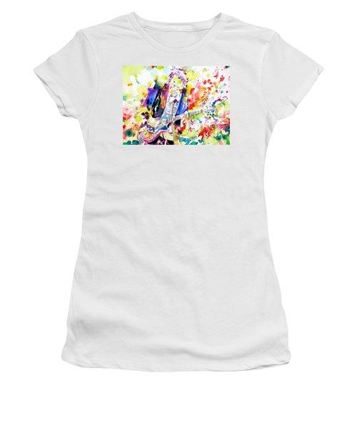 Neil Young Playing The Guitar - Watercolor Portrait.2 Women's T-Shirt (Junior Cut) by Fabrizio Cassetta
