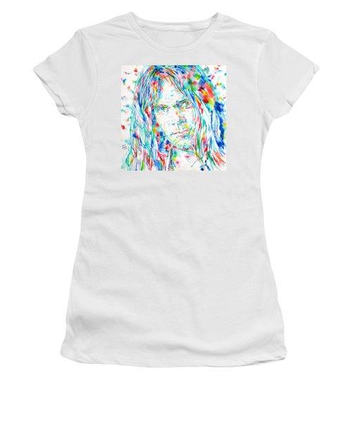 Neil Young - Watercolor Portrait Women's T-Shirt (Junior Cut) by Fabrizio Cassetta