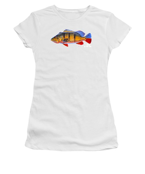 Peacock Bass Women's T-Shirt (Junior Cut) by Carey Chen