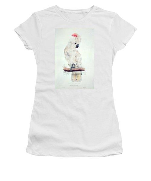 Salmon Crested Cockatoo Women's T-Shirt (Junior Cut) by Edward Lear