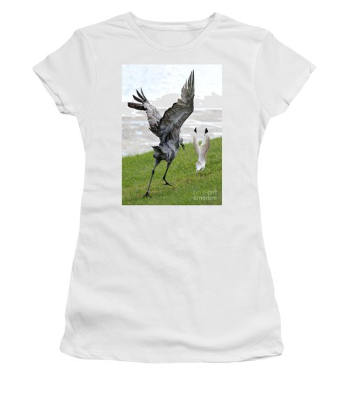 Sandhill Chasing Ibis Women's T-Shirt (Junior Cut) by Carol Groenen