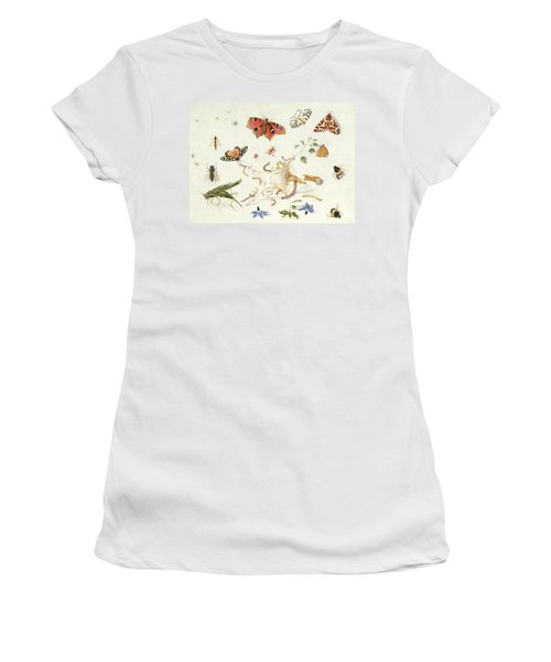 Study Of Insects And Flowers Women's T-Shirt (Junior Cut) by Ferdinand van Kessel
