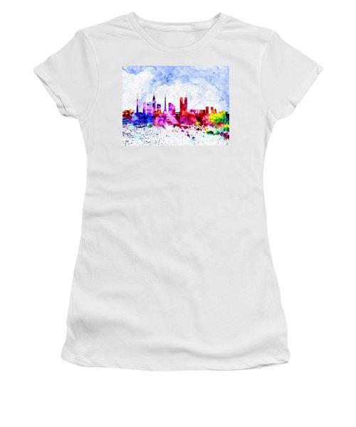 Tokyo Watercolor Women's T-Shirt (Junior Cut) by Daniel Janda