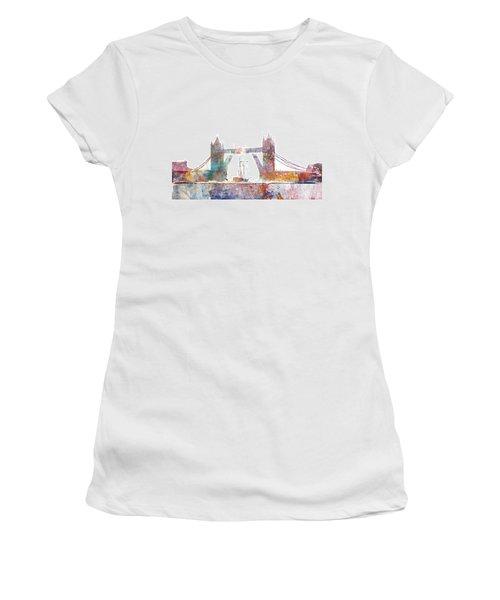 Tower Bridge Colorsplash Women's T-Shirt (Junior Cut) by Aimee Stewart