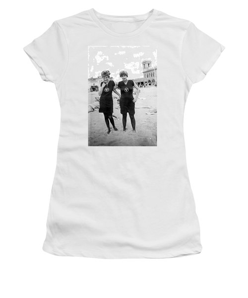 Two Girls At Venice Beach Women's T-Shirt (Junior Cut) by Underwood Archives