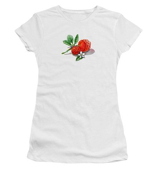 Artz Vitamins A Very Happy Raspberry Women's T-Shirt (Junior Cut) by Irina Sztukowski