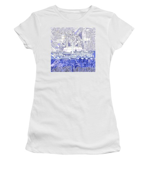 Washington Dc Skyline Abstract 3 Women's T-Shirt (Junior Cut) by Bekim Art