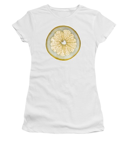 White Grapefruit Slice Women's T-Shirt (Junior Cut) by Steve Gadomski