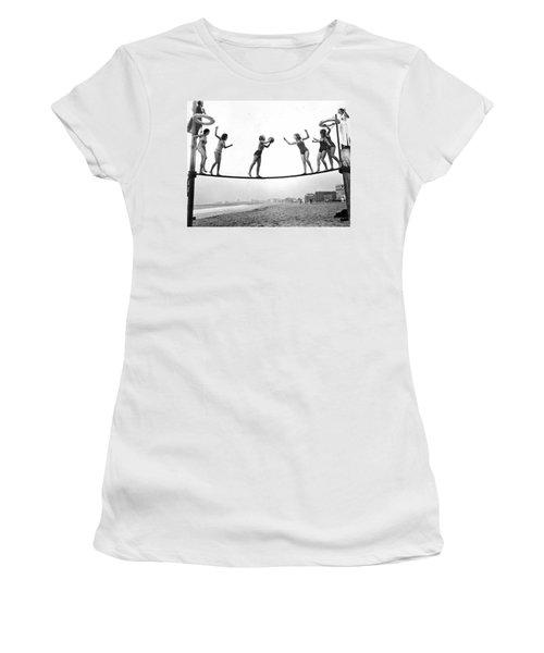 Women Play Beach Basketball Women's T-Shirt (Junior Cut) by Underwood Archives