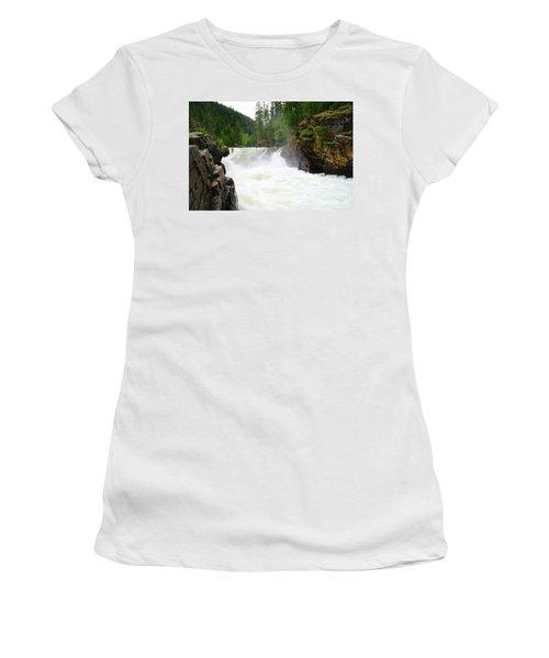 Yaak Falls Women's T-Shirt (Junior Cut) by Jeff Swan