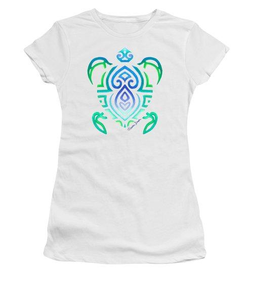 Tribal Turtle Women's T-Shirt (Junior Cut) by Heather Schaefer