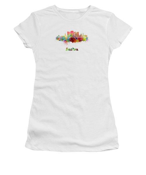 Boston Skyline In Watercolor Women's T-Shirt (Junior Cut) by Pablo Romero