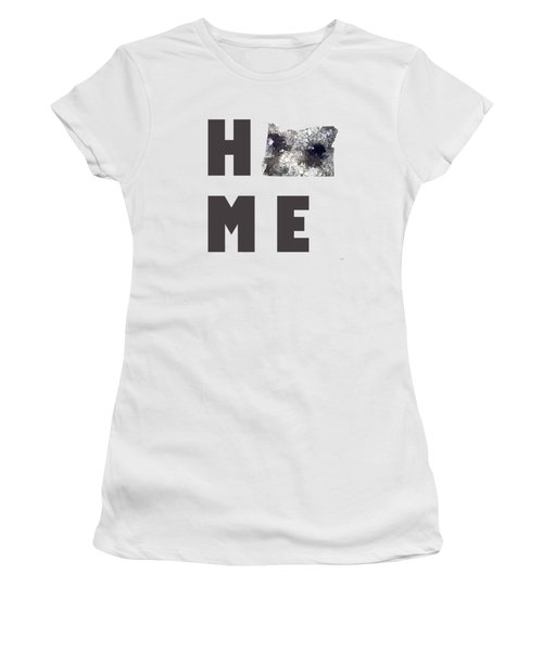 Oregon State Map Women's T-Shirt (Junior Cut) by Marlene Watson