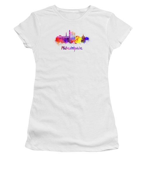 Philadelphia Skyline In Watercolor Women's T-Shirt (Junior Cut) by Pablo Romero