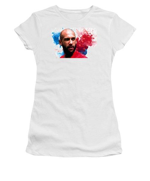Tim Howard Women's T-Shirt (Junior Cut) by Semih Yurdabak