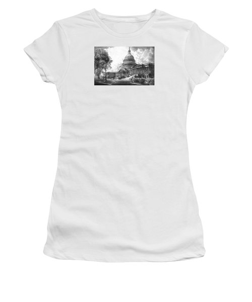 United States Capitol Building Women's T-Shirt (Junior Cut) by War Is Hell Store