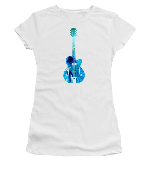 Vintage Guitar 2 - Colorful Abstract Musical Instrument Women's T-Shirt (Junior Cut) by Sharon Cummings