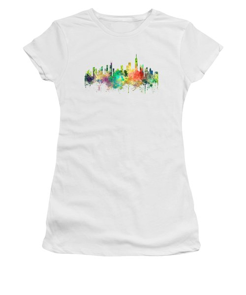 Chicago Illinois Skyline Women's T-Shirt (Junior Cut) by Marlene Watson