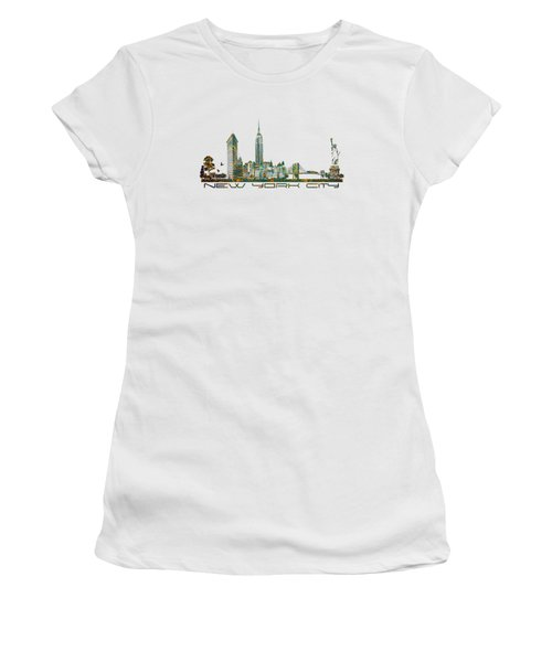 New York City Skyline Women's T-Shirt (Junior Cut) by Justyna JBJart